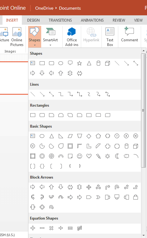 Types of Shapes in PowerPoint Online