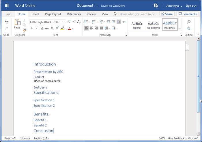 Creating PowerPoint Outlines in Word Online