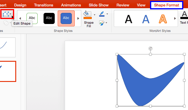 Edit Points for Shapes in PowerPoint 2016 for Mac