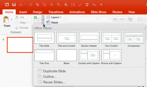 Inserting a New Slide in PowerPoint 2016 for Mac