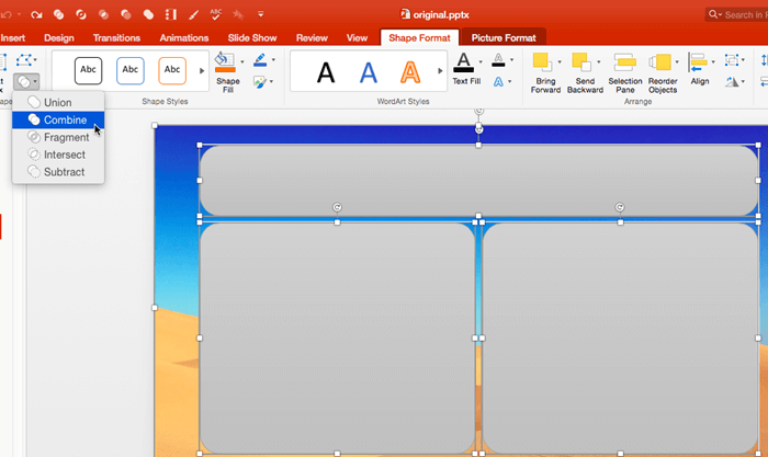 Merge Shapes with Pictures in PowerPoint 2016 for Mac