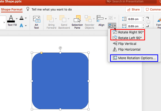 how to change the shape of picture in powerpoint mac