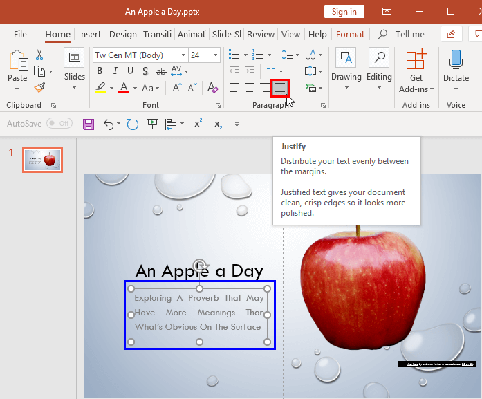 Text Alignment in PowerPoint 2016 for Windows