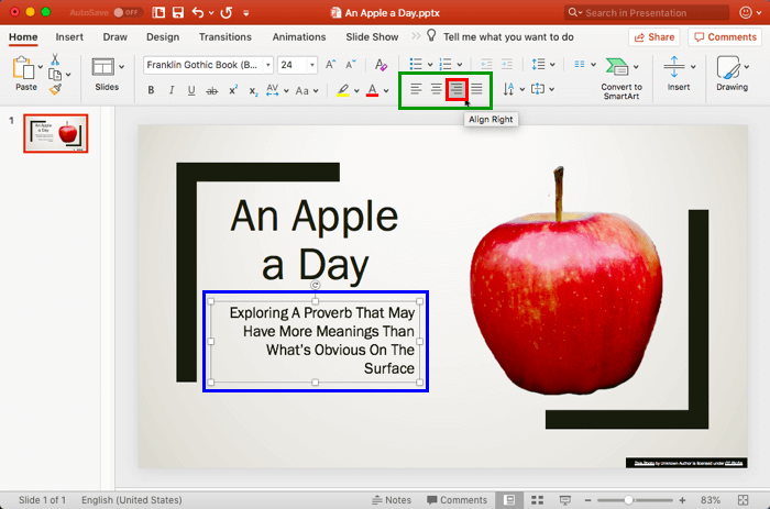 Text Alignment in PowerPoint 2016 for Mac