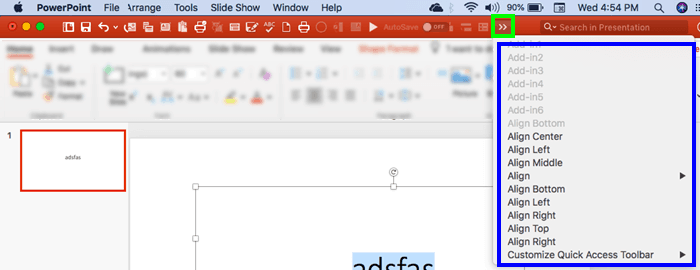 Quick Access Toolbar in PowerPoint 2016 for Mac