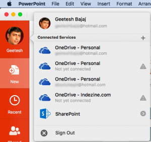 Add Services in PowerPoint 2016 for Mac