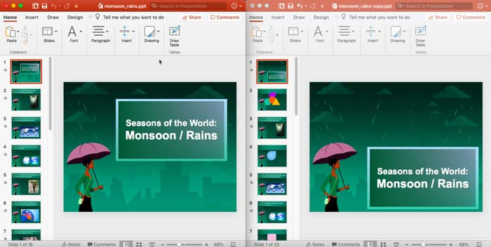 Compare Presentations Manually in PowerPoint 2016 for Mac