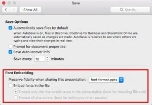 Embed Fonts in PowerPoint 2016 for Mac