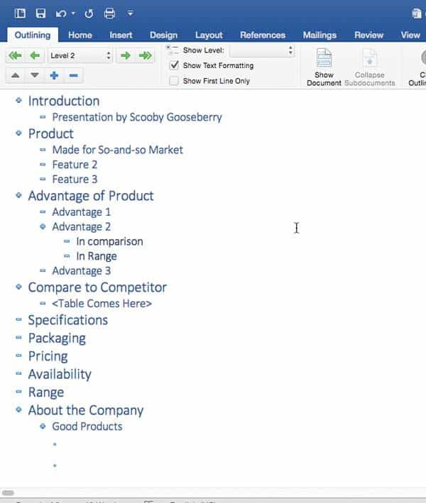 Creating PowerPoint Outlines in Microsoft Word for Mac