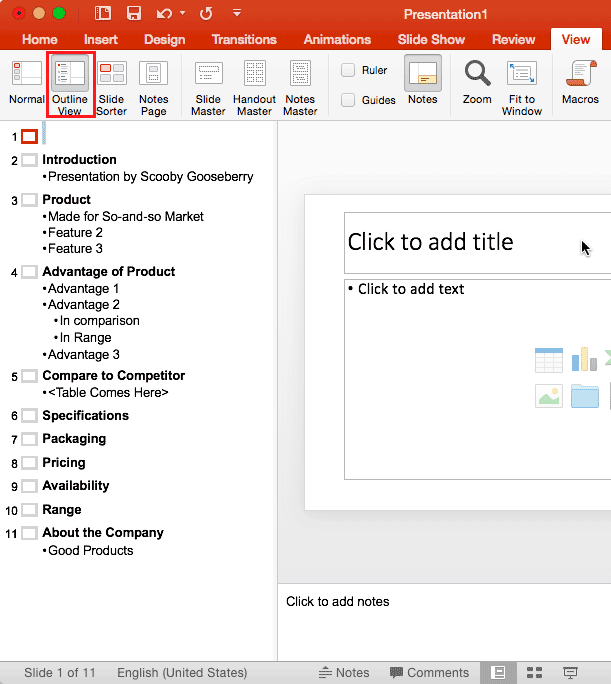 Import Outlines in PowerPoint 365 for Mac