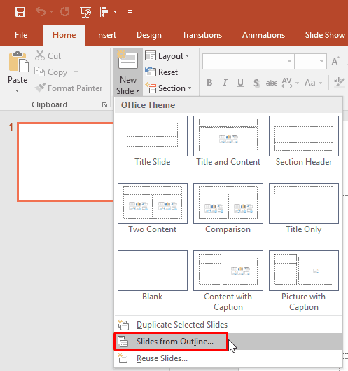 Import Outlines in PowerPoint 365 for Windows