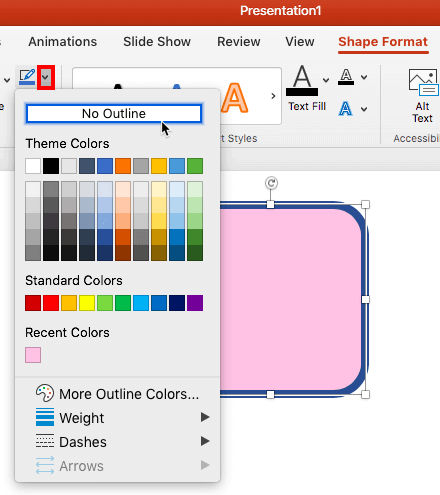 No Shape Outline in PowerPoint 365 for Mac