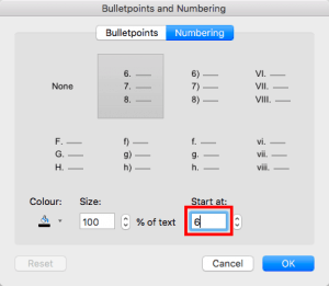 Start or Restart Numbering for Lists in PowerPoint 365 for Mac
