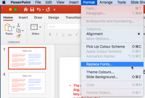 Replace Fonts in PowerPoint 365 for Mac