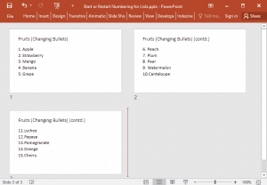 Start or Restart Numbering for Lists in PowerPoint 2016 for Windows