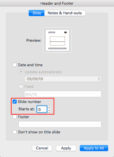Working With Slide Numbers in PowerPoint 365 for Mac