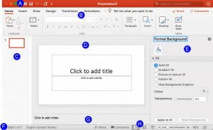 Interface in PowerPoint 365 for Mac