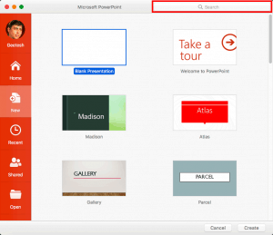 Presentation Gallery in PowerPoint 365 for Mac