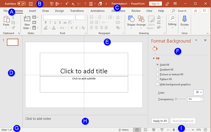 Interface in PowerPoint 365 for Windows