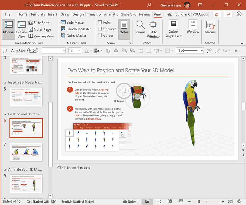 Notes Pane in PowerPoint 365 for Windows