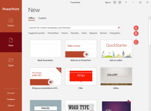 Presentation Gallery in PowerPoint 365 for Windows