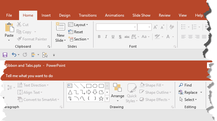 Ribbon and Tabs in PowerPoint 2019 for Windows