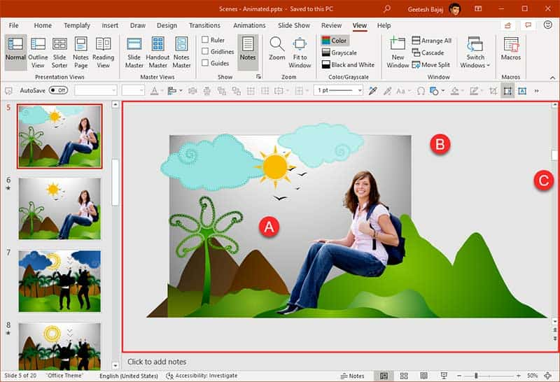 Slide Area in PowerPoint 365 for Windows