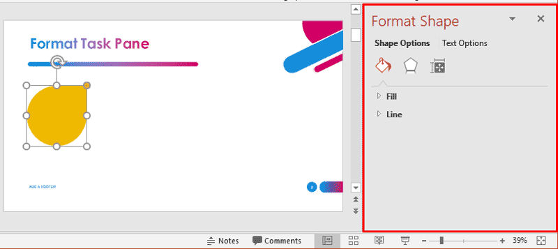 Format Task Panes in PowerPoint 2019 for Windows