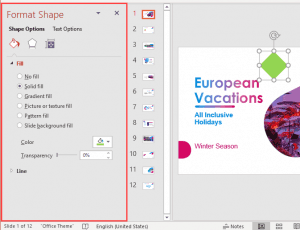 Format Task Panes in PowerPoint 365 for Windows