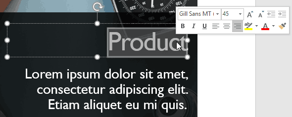 Mini Toolbar in PowerPoint 2019 for Windows