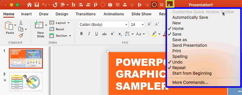 Quick Access Toolbar in PowerPoint 365 for Mac