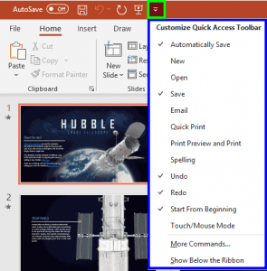 Quick Access Toolbar in PowerPoint 365 for Windows