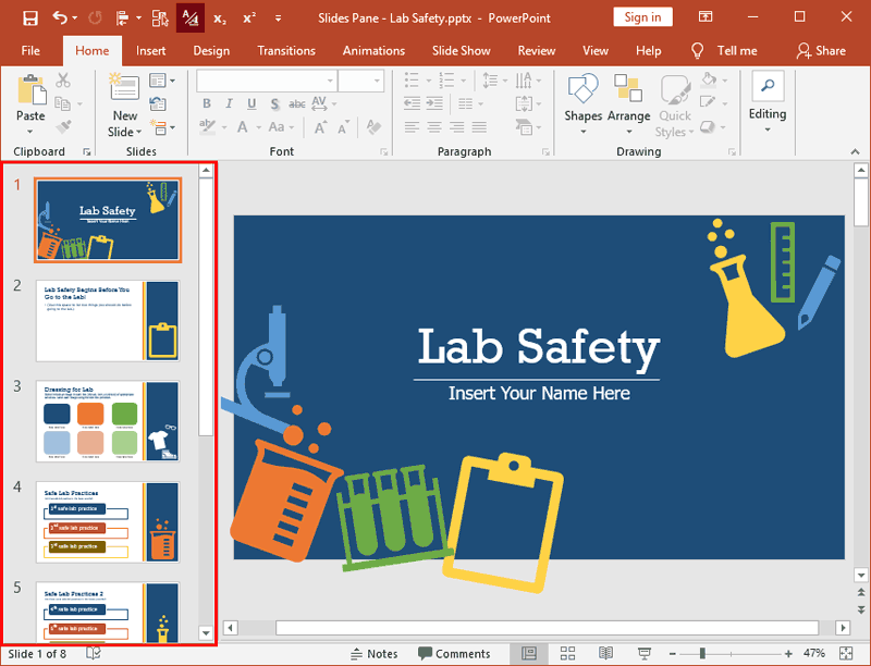 Slides Pane in PowerPoint 2019 for Windows