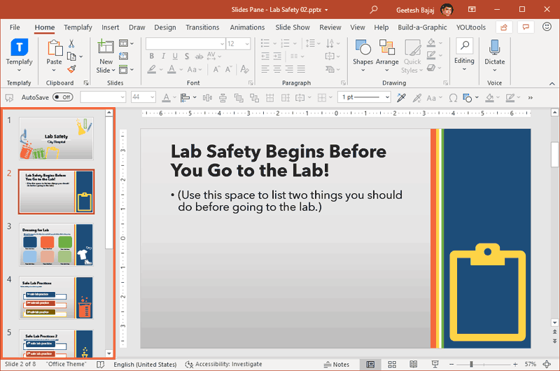 Slides Pane in PowerPoint 365 for Windows