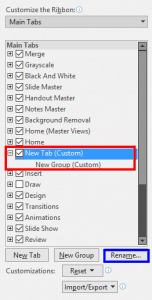 Add and Rename Ribbon Tabs in PowerPoint 2019 for Windows