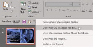 Customize Quick Access Toolbar in PowerPoint 365 for Windows