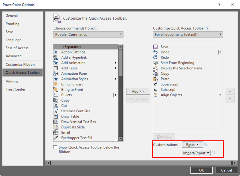 Reset, Export, and Import QAT Customizations in PowerPoint 2019 for Windows