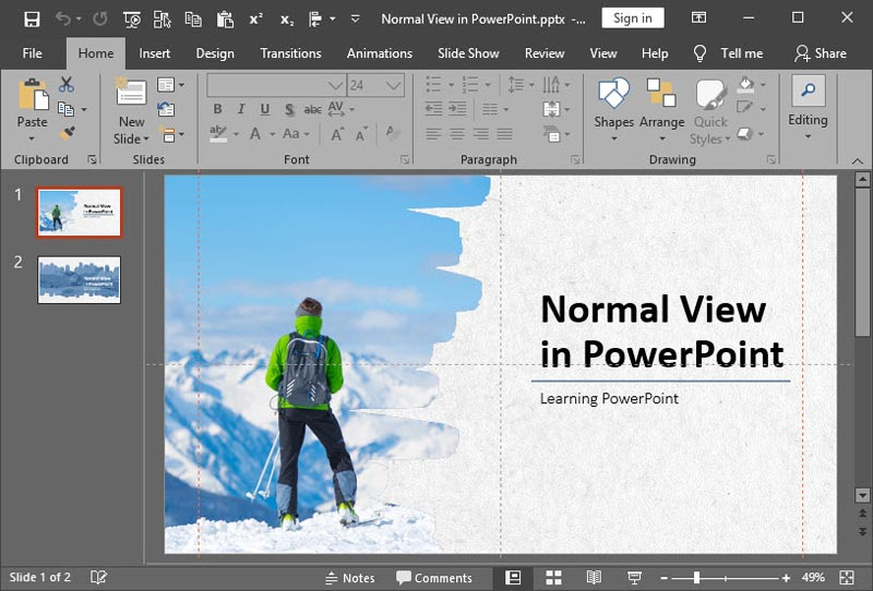 Normal View (Editing View) in PowerPoint 2019 for Windows