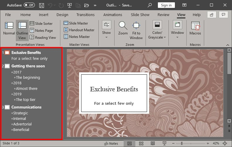 Outline View in PowerPoint 365 for Windows