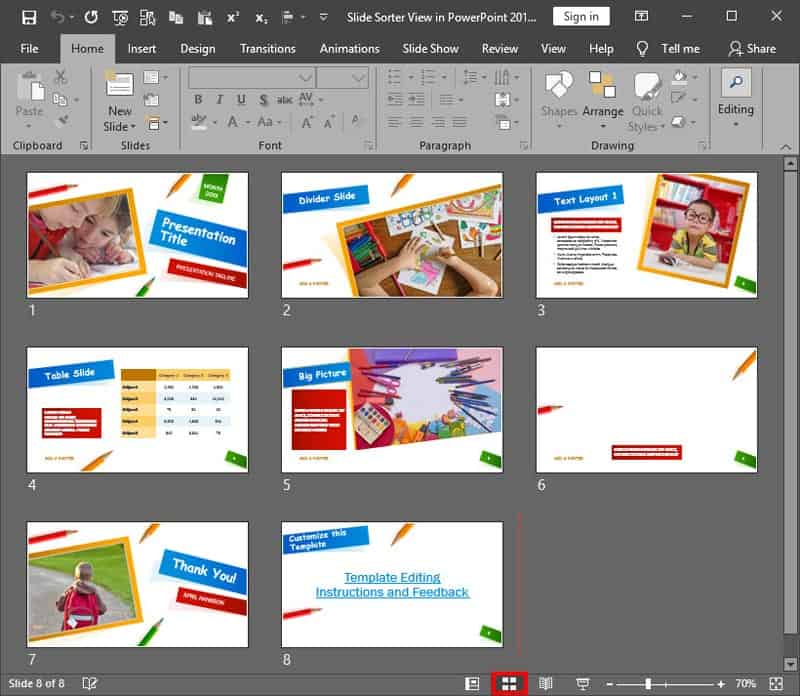 Slide Sorter View in PowerPoint 2019 for Windows