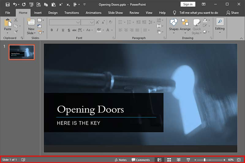 Status Bar in PowerPoint 2019 for Windows
