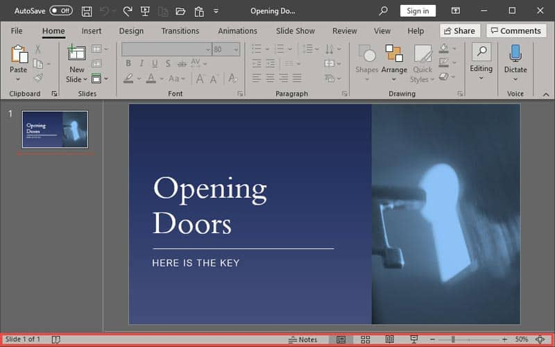 Status Bar in PowerPoint 365 for Windows