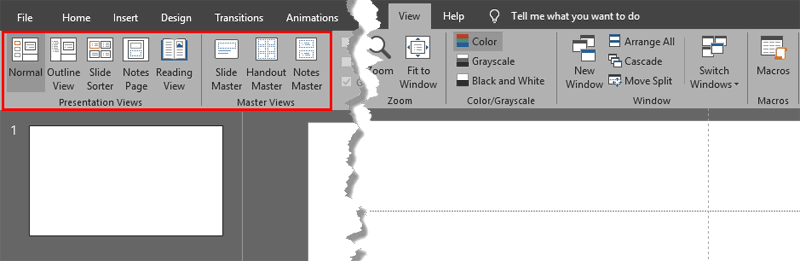Views in PowerPoint 2019 for Windows