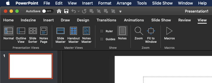 Views in PowerPoint 365 for Mac