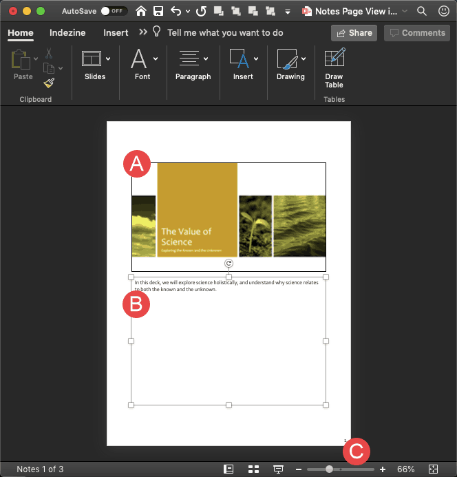 Notes Page View in PowerPoint 365 for Mac