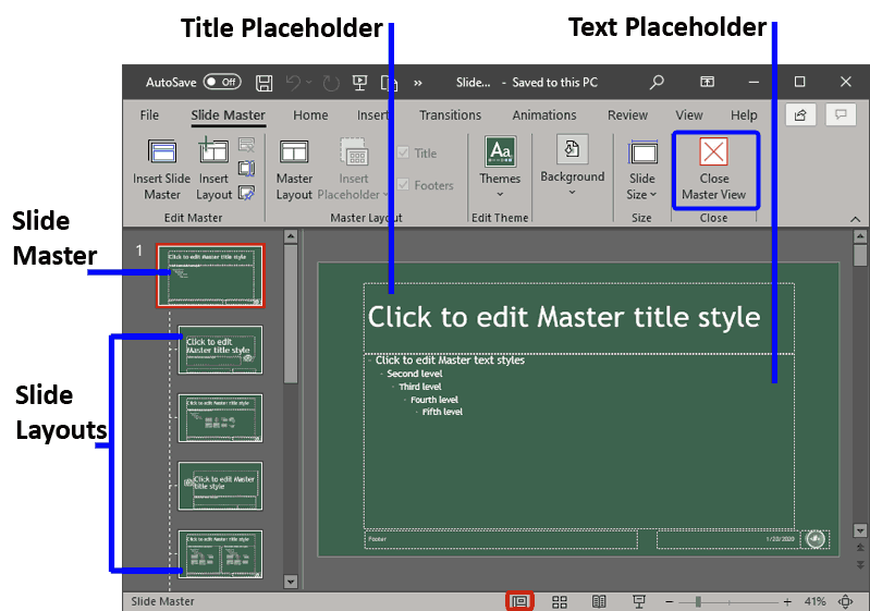 Slide Master View in PowerPoint 365 for Windows