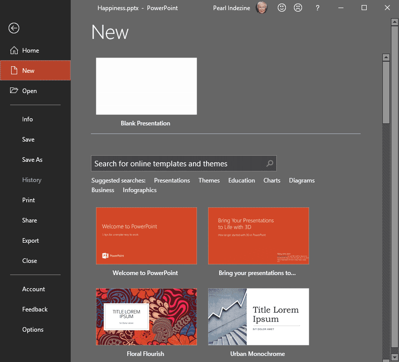 File Menu and Backstage View in PowerPoint 2019 for Windows