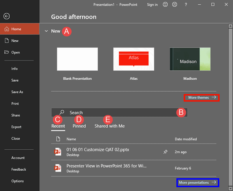 Home Tab of Backstage View in PowerPoint 365 for Windows