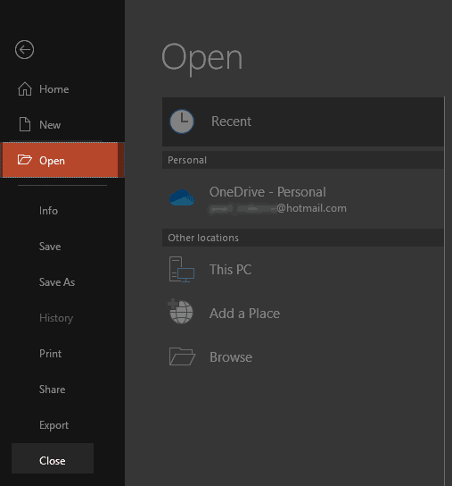 Open and Close Tabs of Backstage View in PowerPoint 2019 for Windows