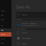 Save and Save As Tabs of Backstage View in PowerPoint 2019 for Windows